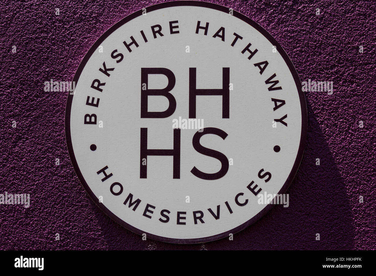 Muncie - Circa August 2016: Berkshire Hathaway HomeServices Sign. HomeServices is subsidiary of Berkshire Hathaway - Stock Image