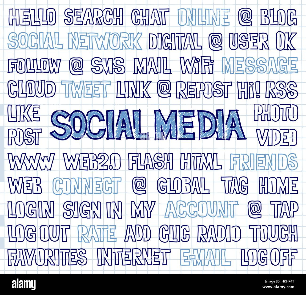 Hand Written Social Media Words, Tags, and Labels on Squared Paper - Stock Image