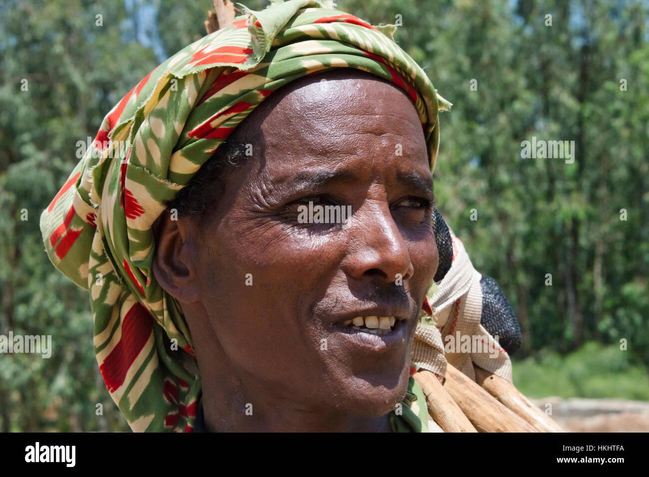 Portrait of a farmer, Aksum, Ethiopia - Stock Image