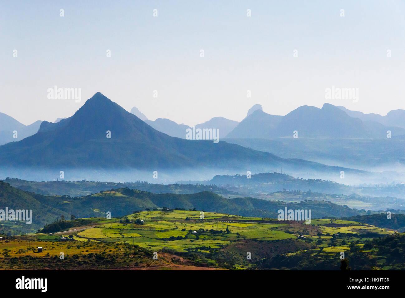 Landscape of mountain, Tigray Region, Ethiopia - Stock Image