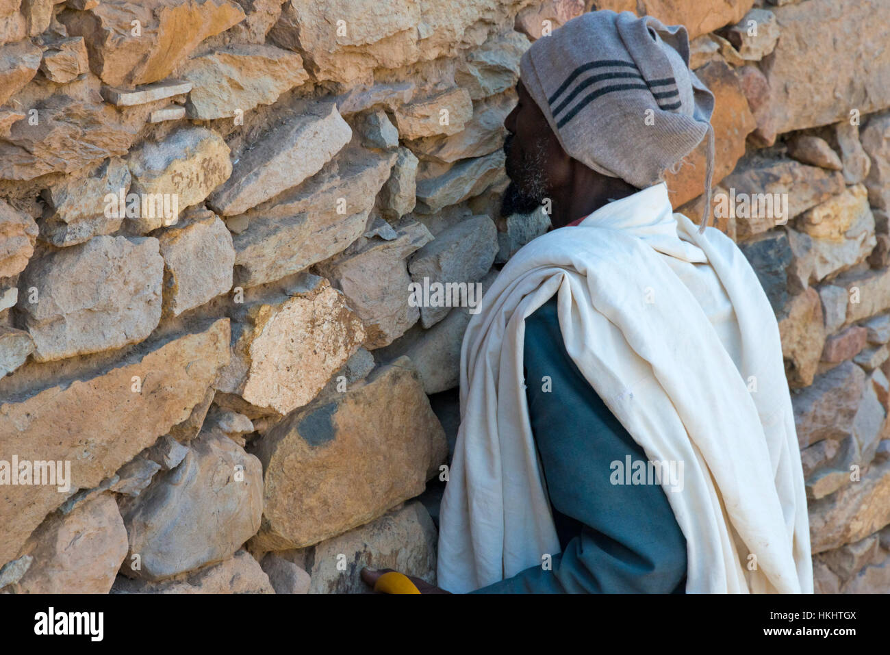 Pilgrim at the Great Temple of Yeha, Ethiopia - Stock Image