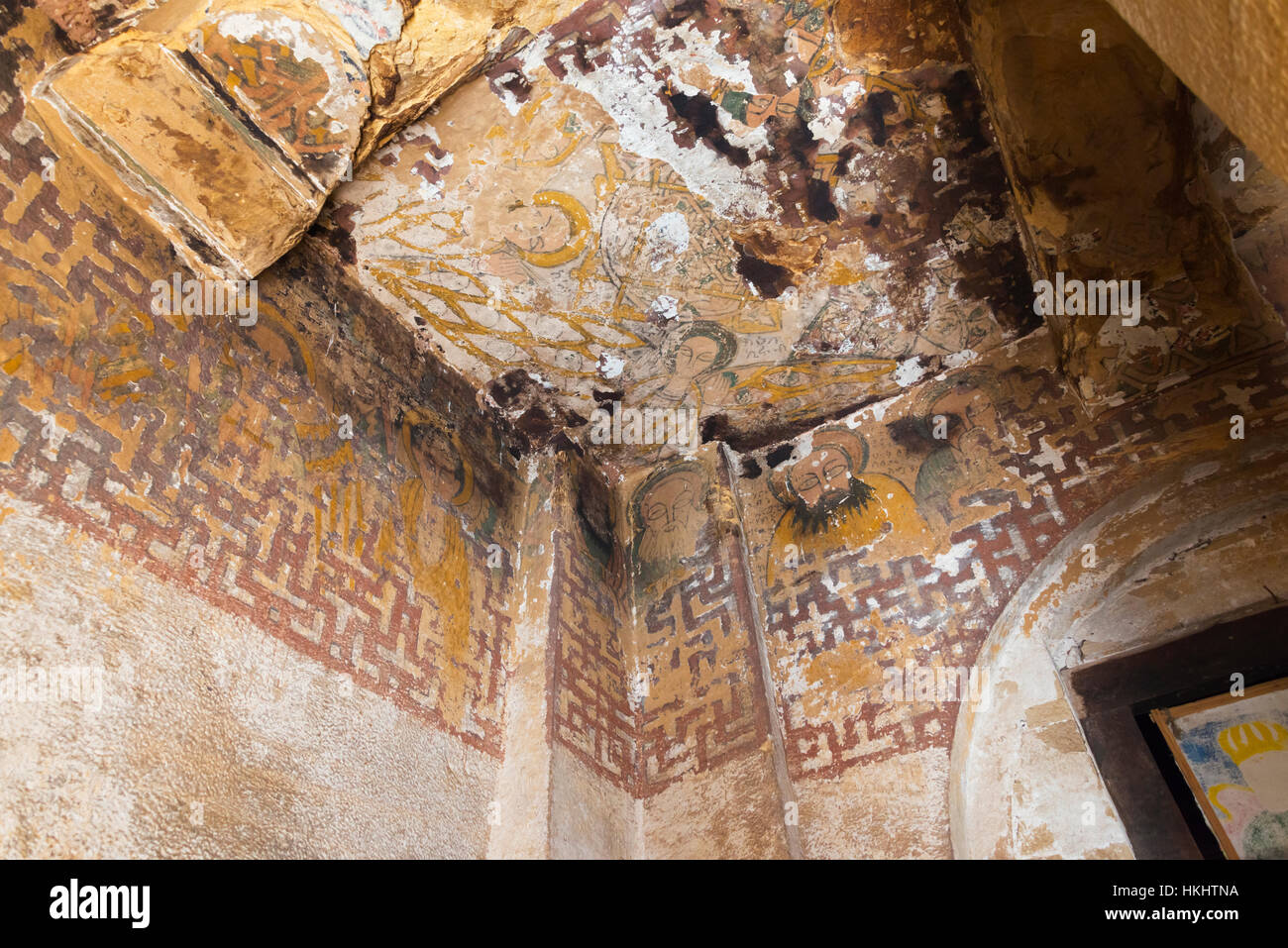 Inside Mikael Imba Church, one of the rock-hewn churches of Tigray, Ethiopia - Stock Image