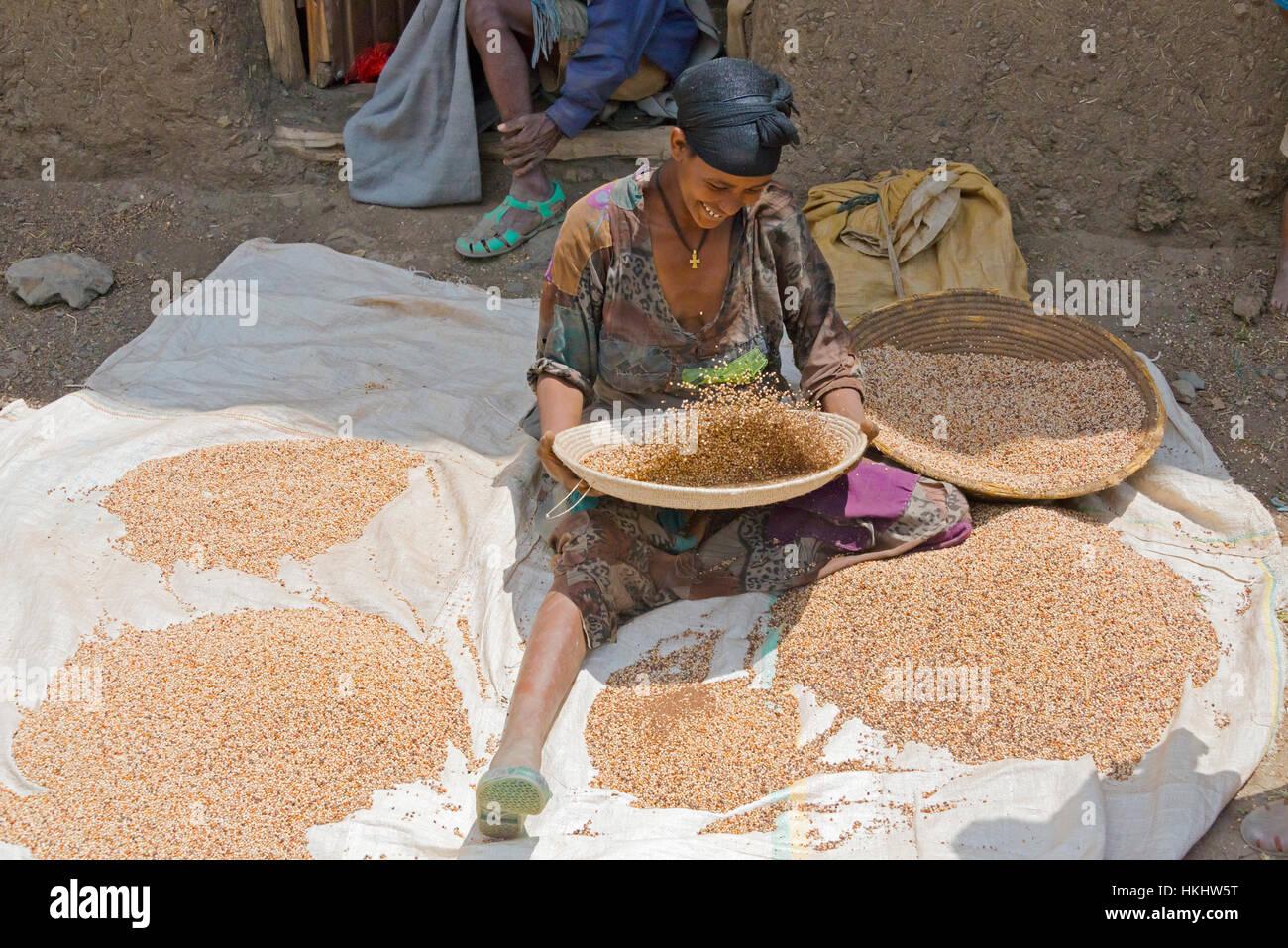 Farmer winnowing corn, Lalibela, Ethiopia - Stock Image