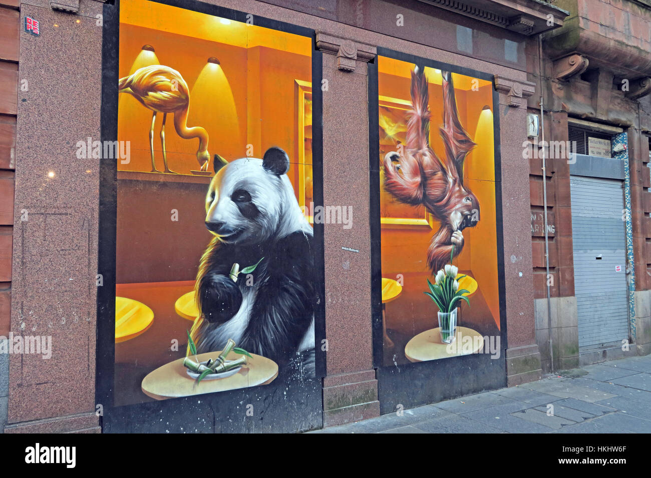 Panda drawn on shop front, Glasgow, Scotland - Stock Image