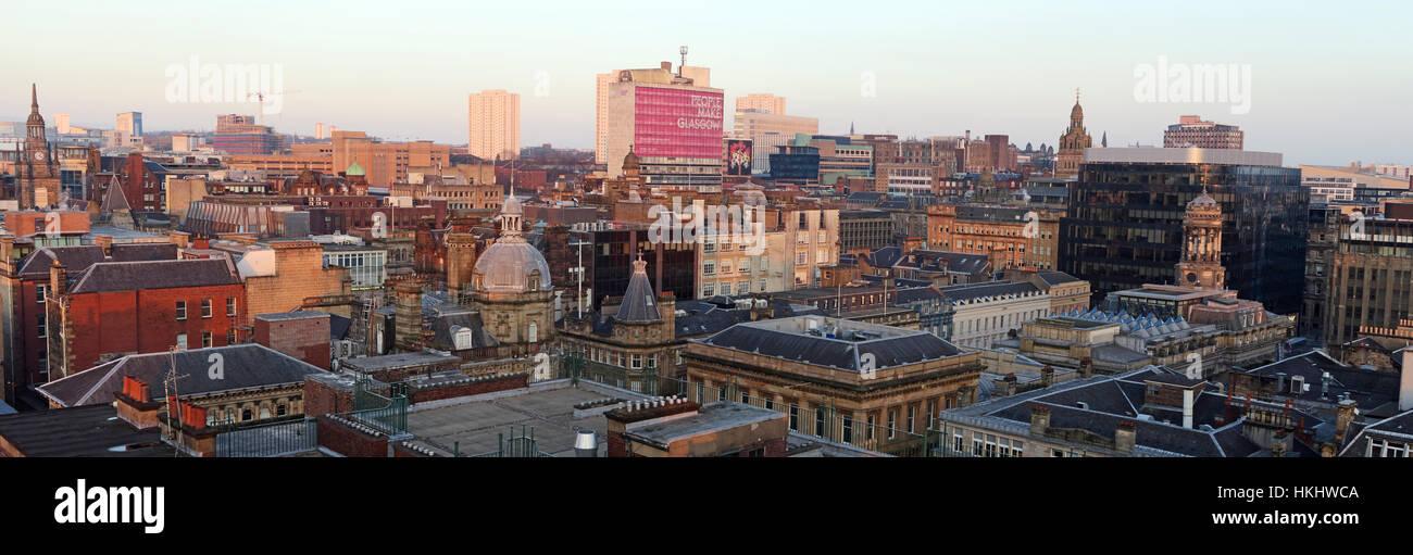 Glasgow City Panorama,Scotland - Stock Image