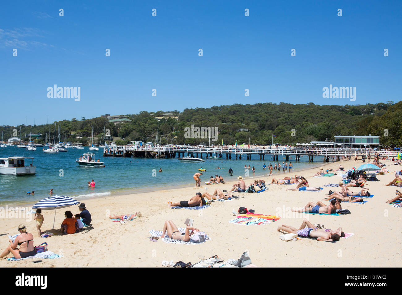 Balmoral Beach and view son Middle Harbour in Mosman, Sydney, New South Wales,Australia - Stock Image