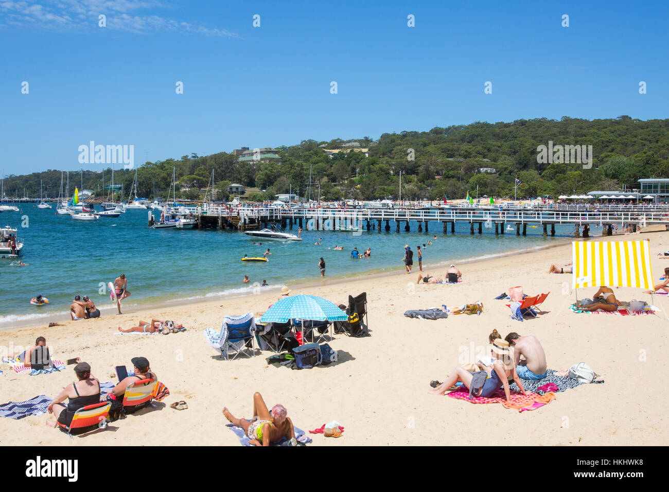Balmoral Beach and views of Middle Harbour in Mosman, Sydney, New South Wales,Australia - Stock Image