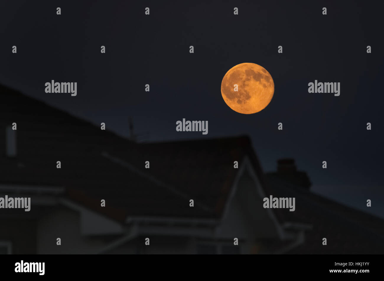 Full harvest moon glowing in the night sky over houses; South Shields, Tyne and Wear, England - Stock Image