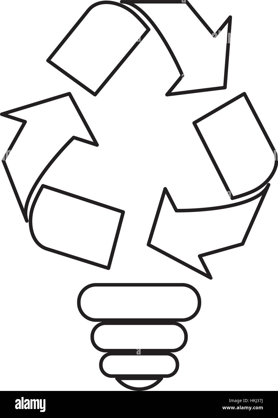 Contour bulb environmental care icon image, vector illustration - Stock Image