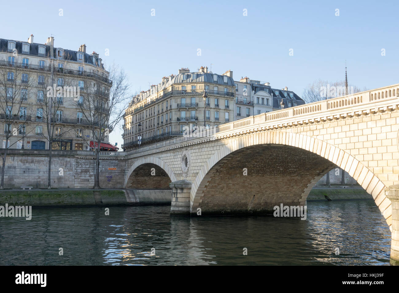 Pont Marie on a sunny winter's day in Paris, France - Stock Image