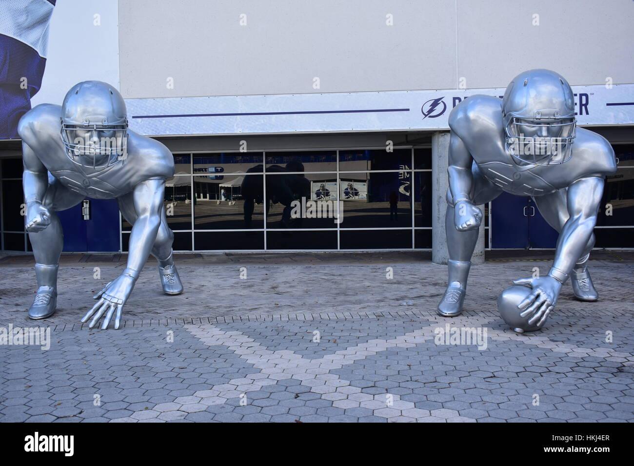 Tampa, Florida - USA - January 07, 2017: College Football Playoff sculptures - Stock Image