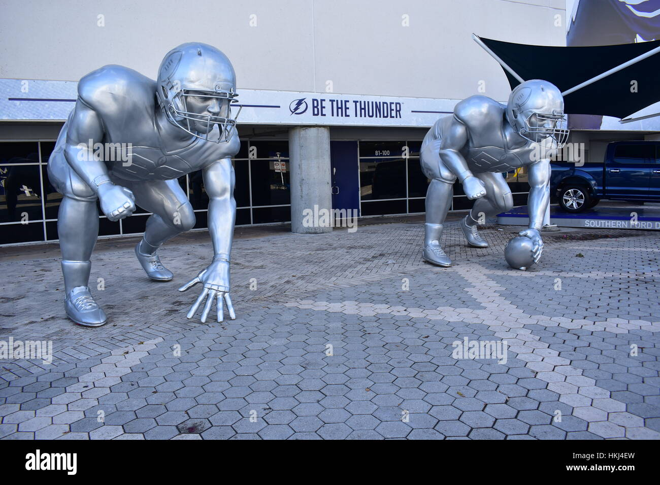 Tampa, Florida - USA - January 07, 2017: Football Playoff sculptures in Tampa - Stock Image