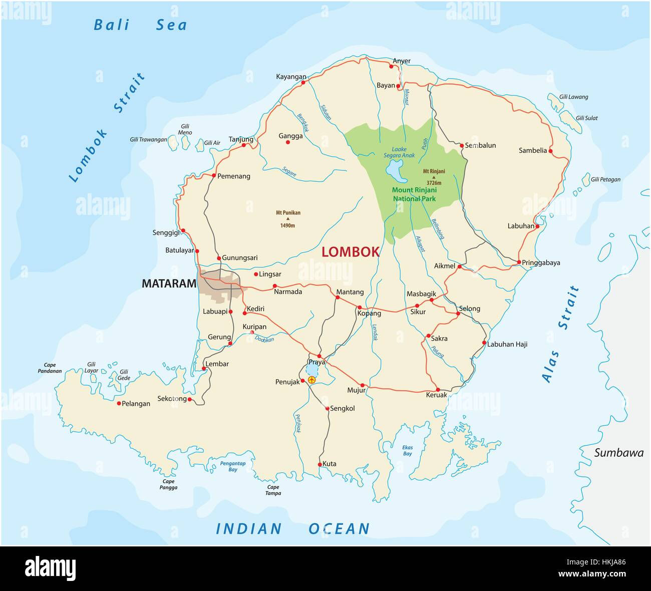 Road map of the indonesian island of lombok stock vector art road map of the indonesian island of lombok gumiabroncs Image collections