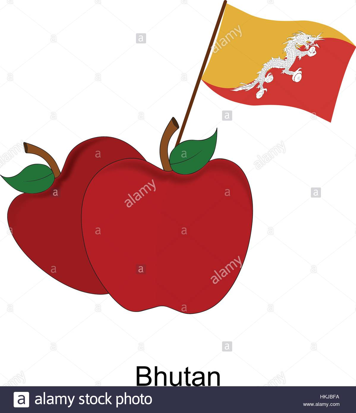 Illustration of Apple, Bhutan Flag, Apple with Bhutan Flag - Stock Vector
