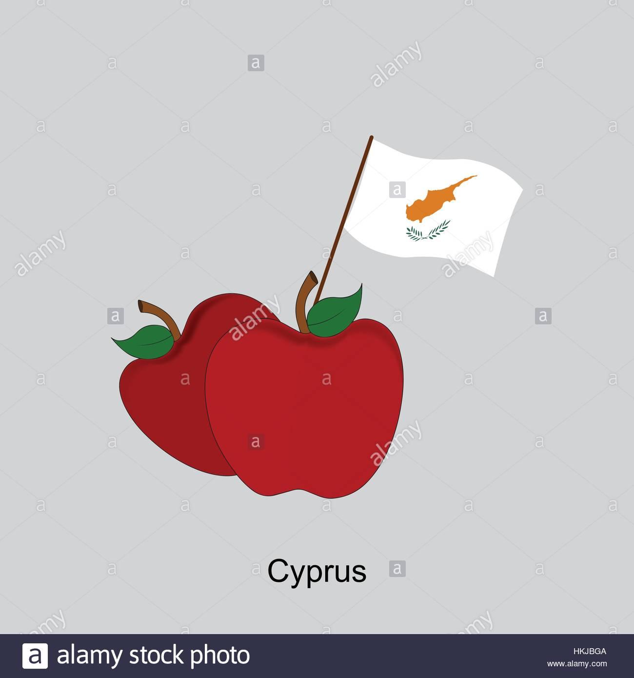 Illustration of Apple, Cyprus Flag, Apple with Cyprus Flag - Stock Image
