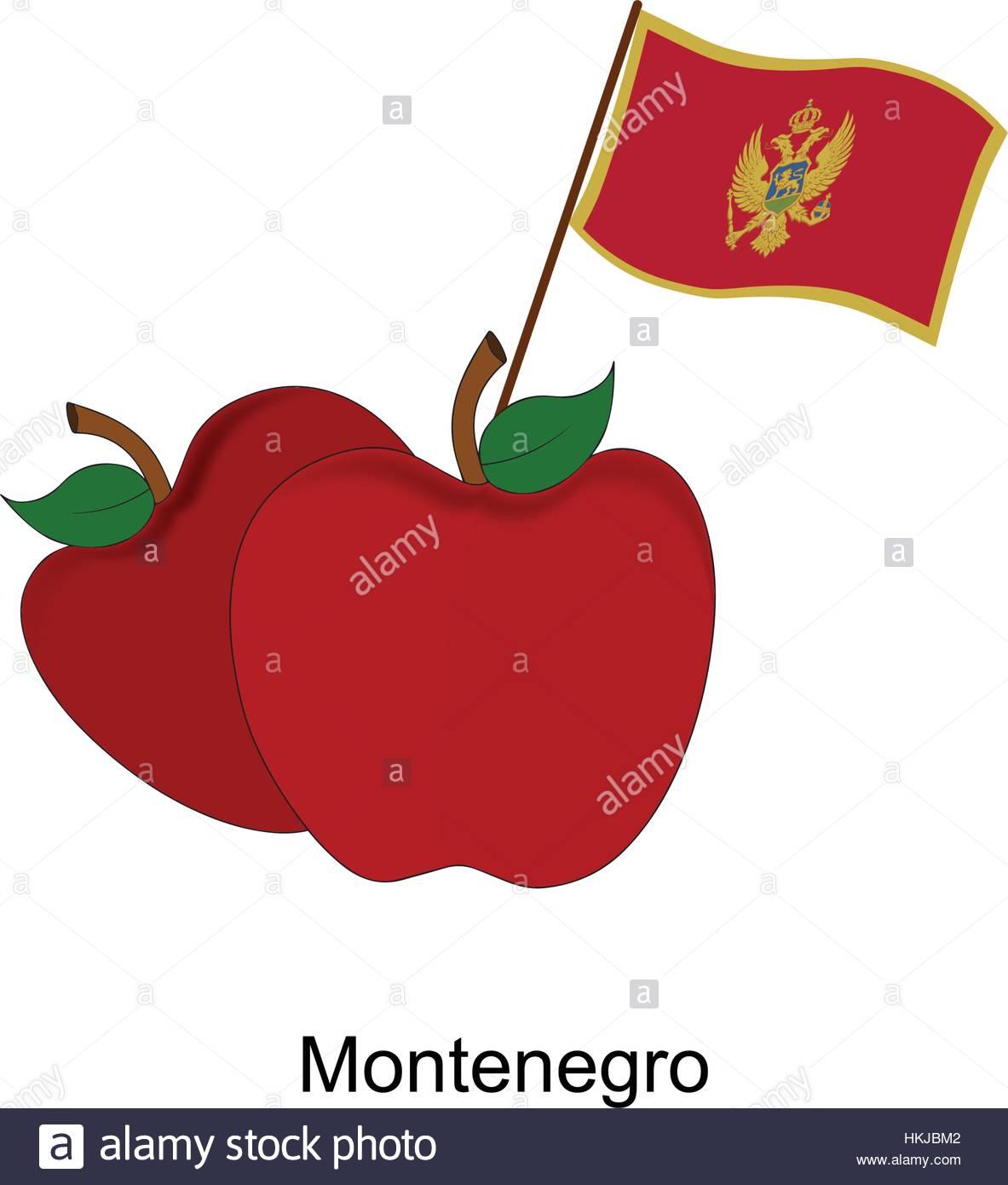 Illustration of Apple, Montenegro Flag, Apple with Montenegro Flag Stock Vector