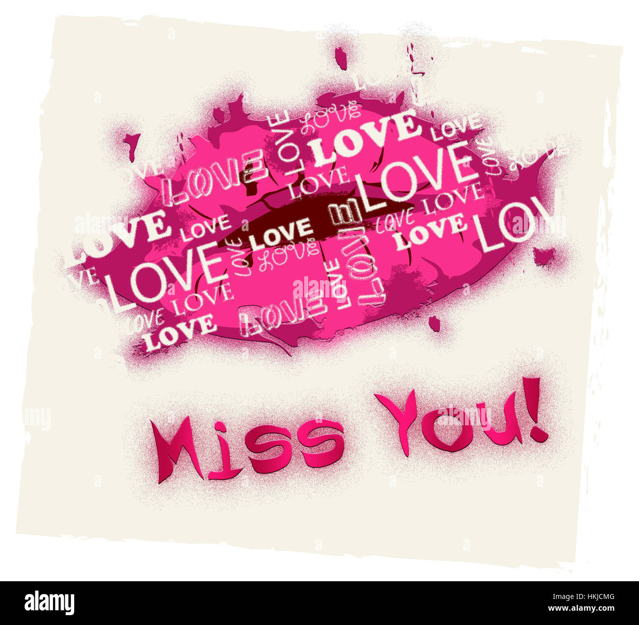 Miss You Lips Meaning Absense Love And Longing Stock Photo