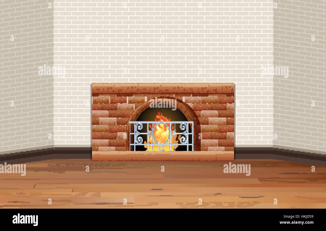 Room with fireplace and brick wall illustration - Stock Vector