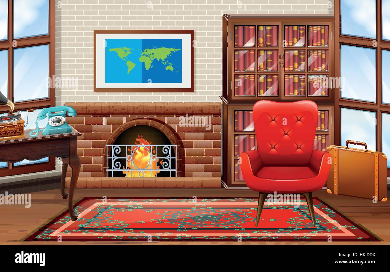 Room with fireplace and bookshelves illustration - Stock Vector