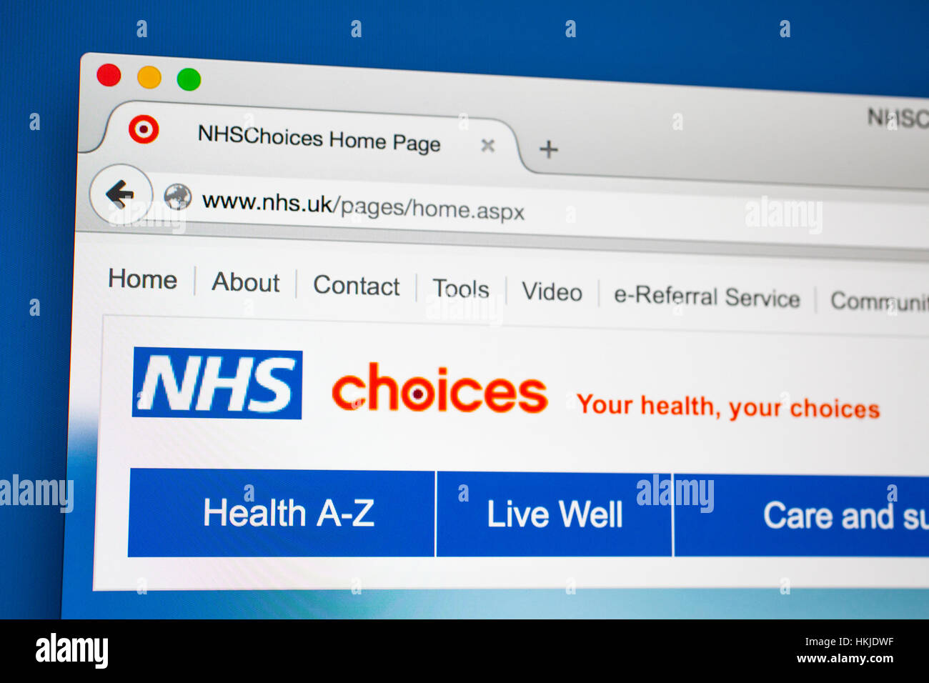 LONDON, UK - OCTOBER 21ST 2015: The homepage of the official National Health Service website, on 21st October 2015. - Stock Image