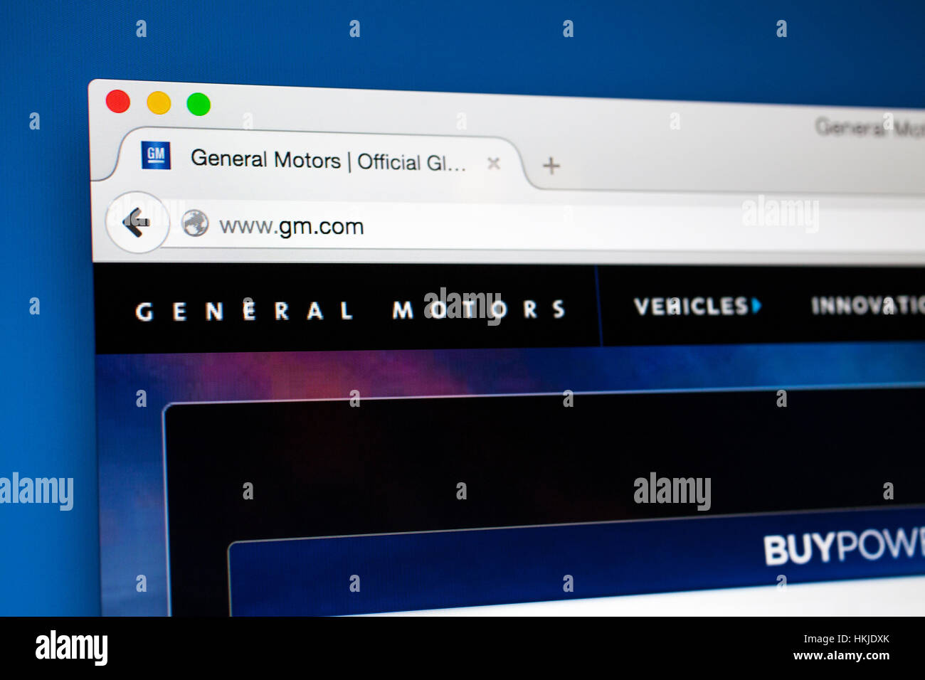 LONDON, UK - OCTOBER 22ND 2015: The homepage of the General Motors Company official website, on 22nd October 2015. - Stock Image