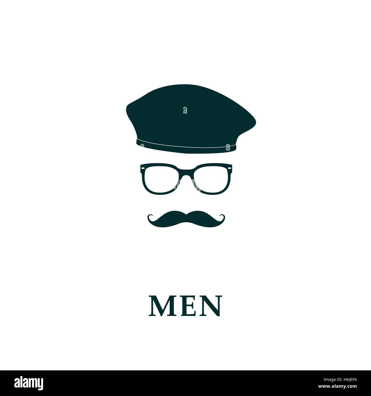 Men French Beret And Mustache Icon In Flat Style Vector Stock Art Illustration Image 132557576