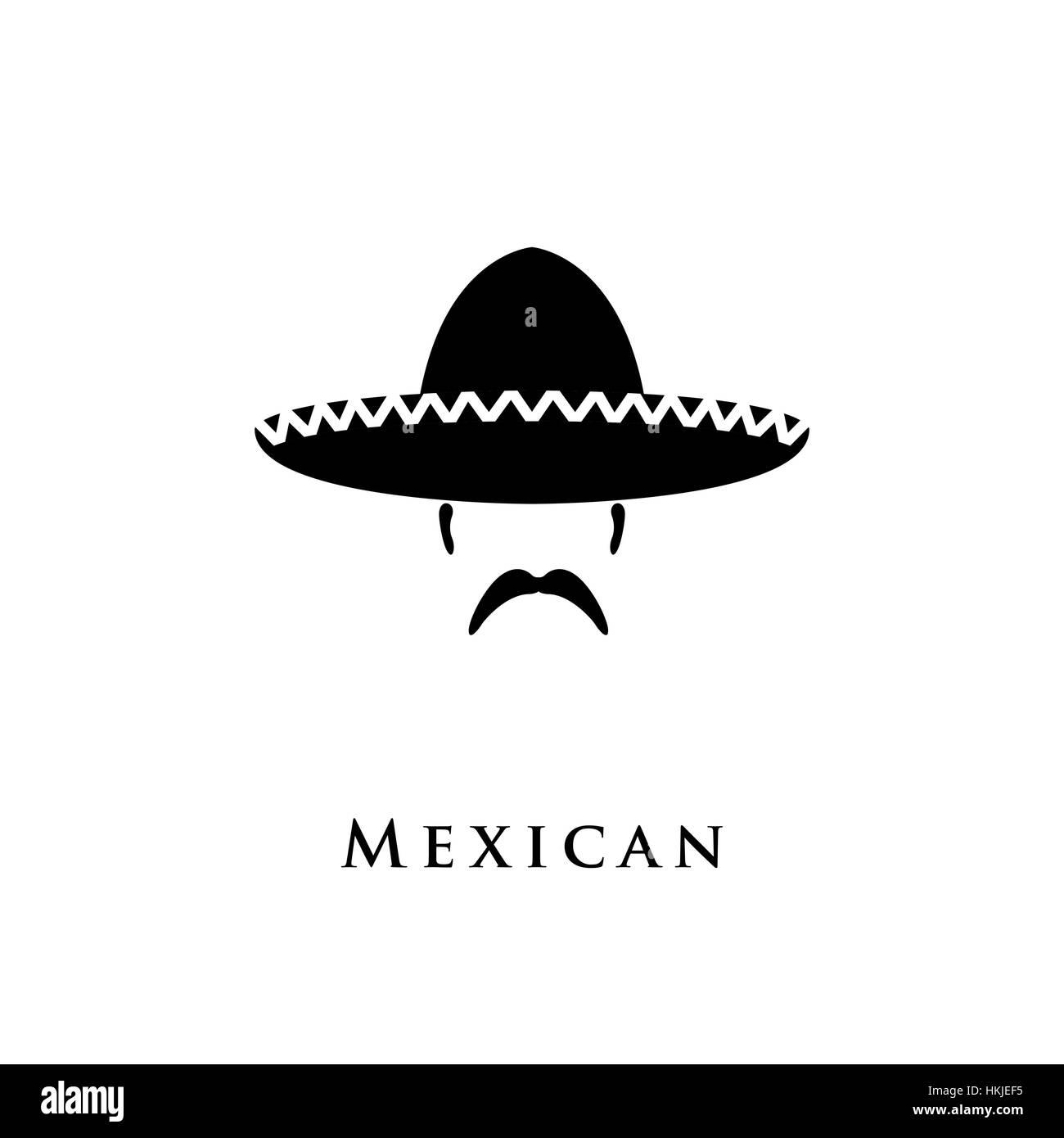 Mexican hat sombrero and mustache. Vector illustration Stock Vector ... 25650fe9332