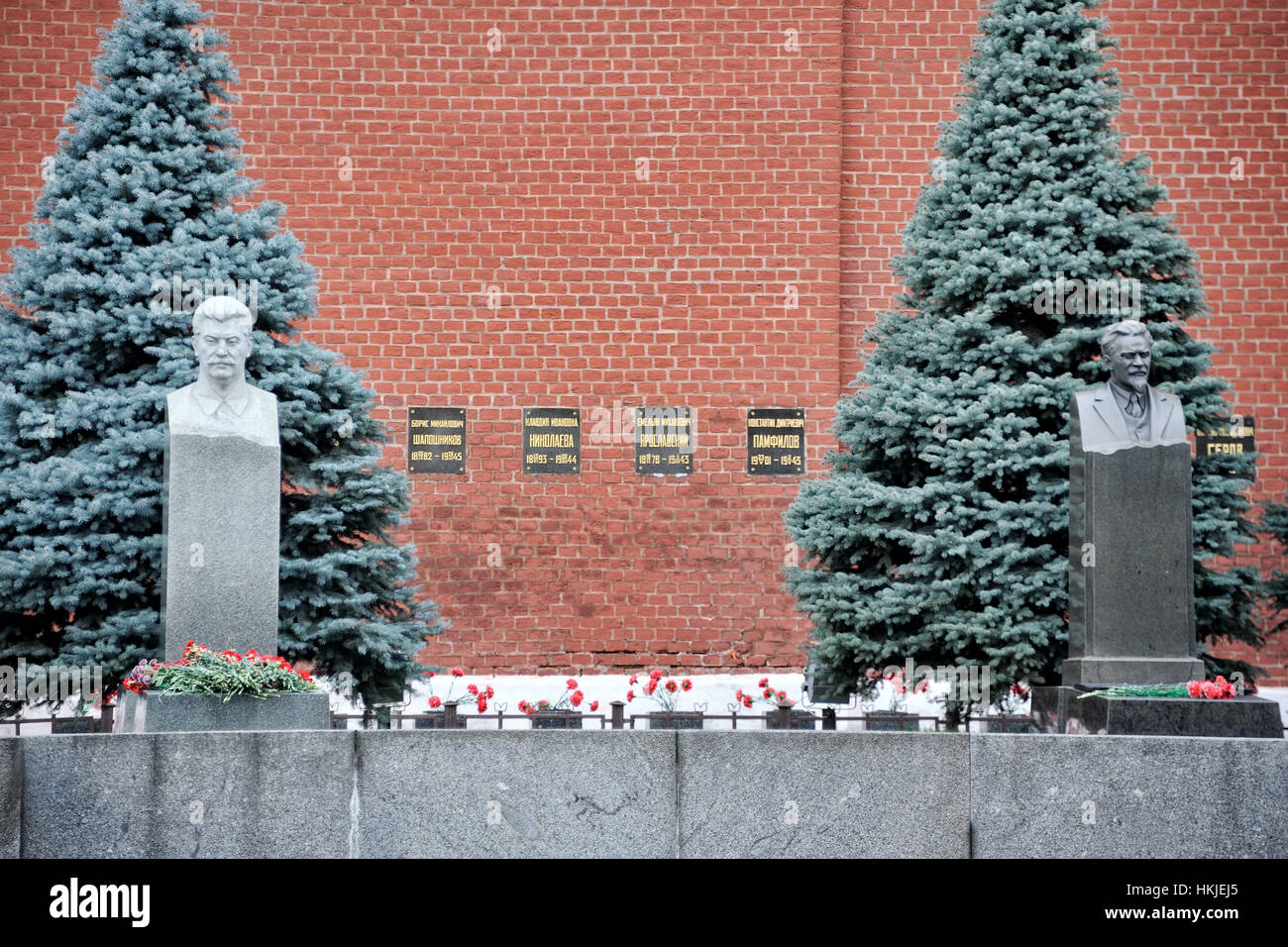 = Tombs of Stalin and Kalinin =  Graves of Josef Stalin (at the left) and Mikhail Kalinin (at the right) in the - Stock Image