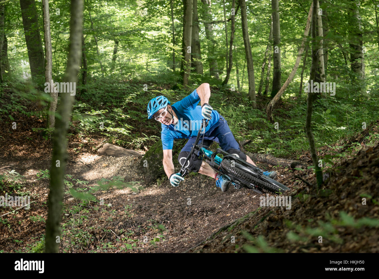 Mountain biker riding downhill in forest, Bavaria, Germany - Stock Image