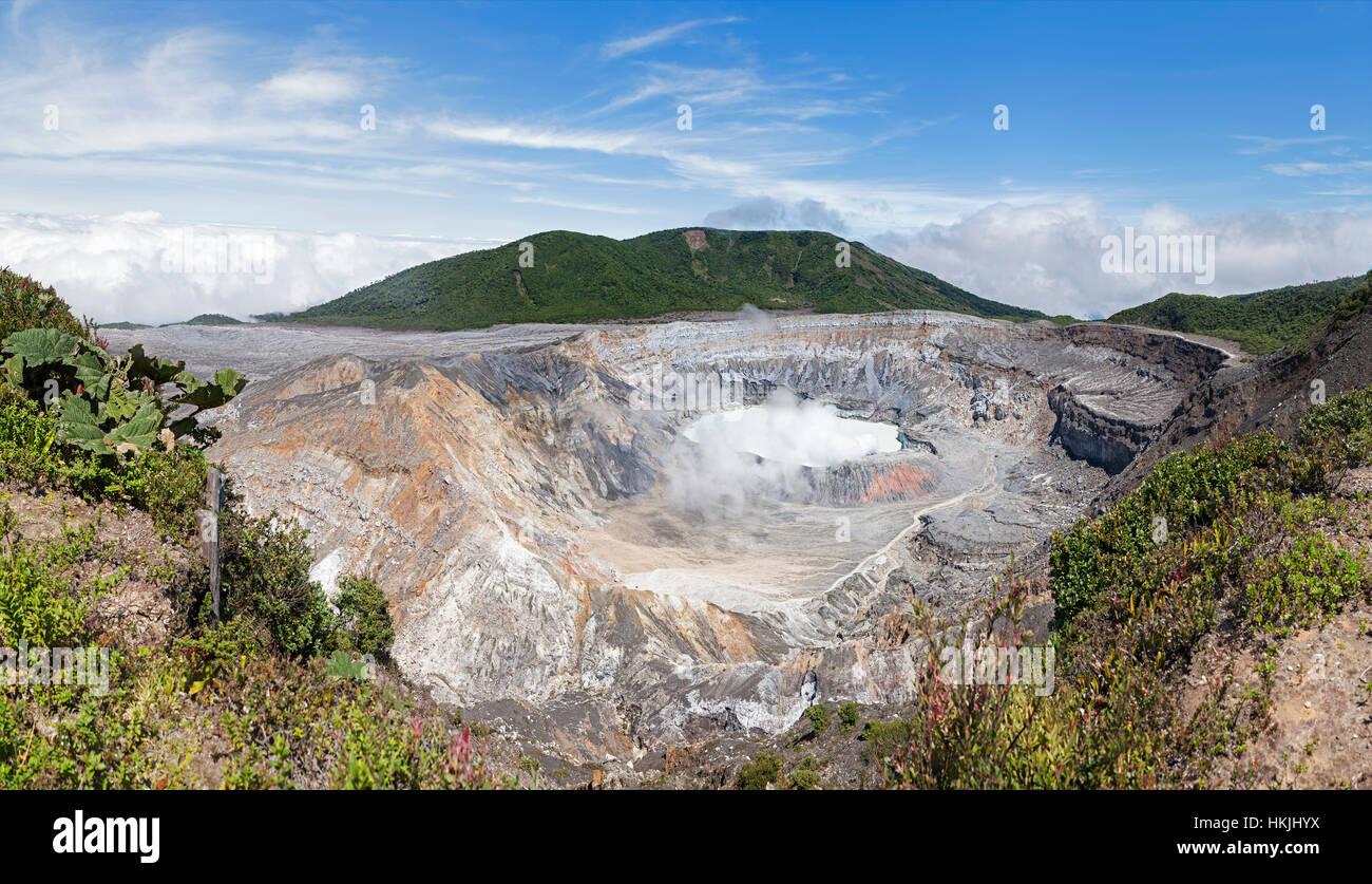 High angle view of smoke emitting from Poas Volcano, Costa Rica Stock Photo
