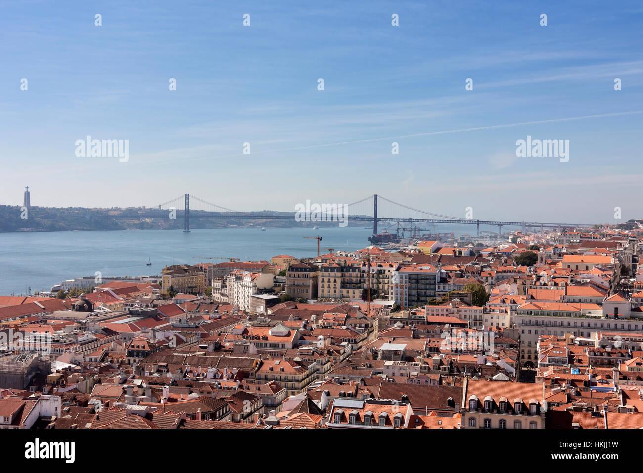Aerial view of a city, April 25th Bridge, Lisbon, Portugal - Stock Image