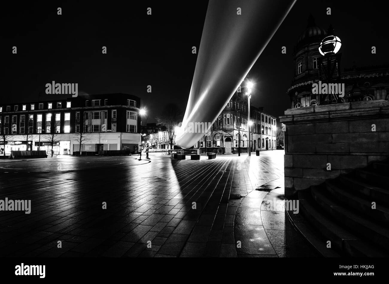 The Hull Blade Sculpture at night in queen Victoria square  A ribbon across the city - Stock Image
