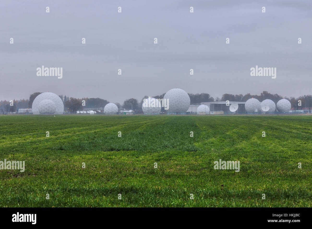 Radar Dome against cloudy sky at Bad Aibling Station, Bavaria, Germany - Stock Image