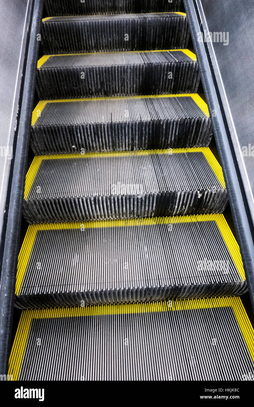 Detail of escalator stairs. - Stock Image