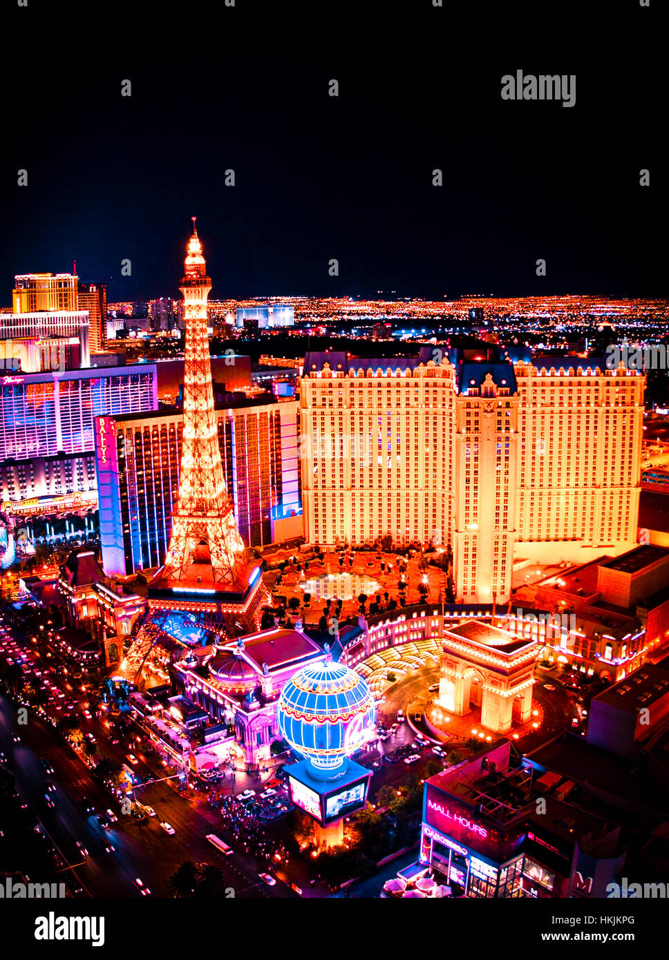 Las Vegas Night View: Beautiful Night Scene Of Las Vegas Nevada With Lit Up