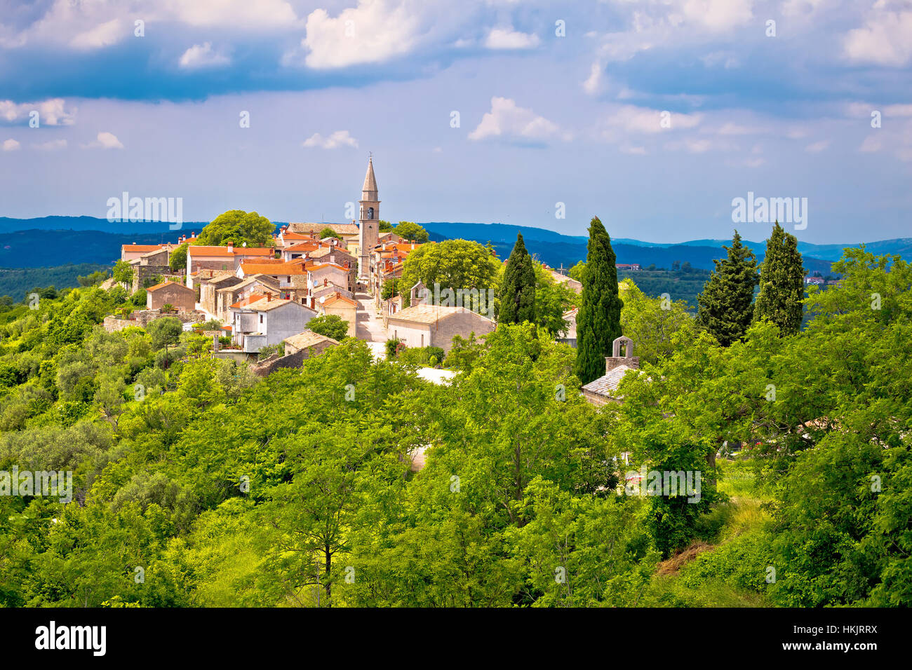 Village of Draguc in green landscape, inland Istria, Croatia - Stock Image