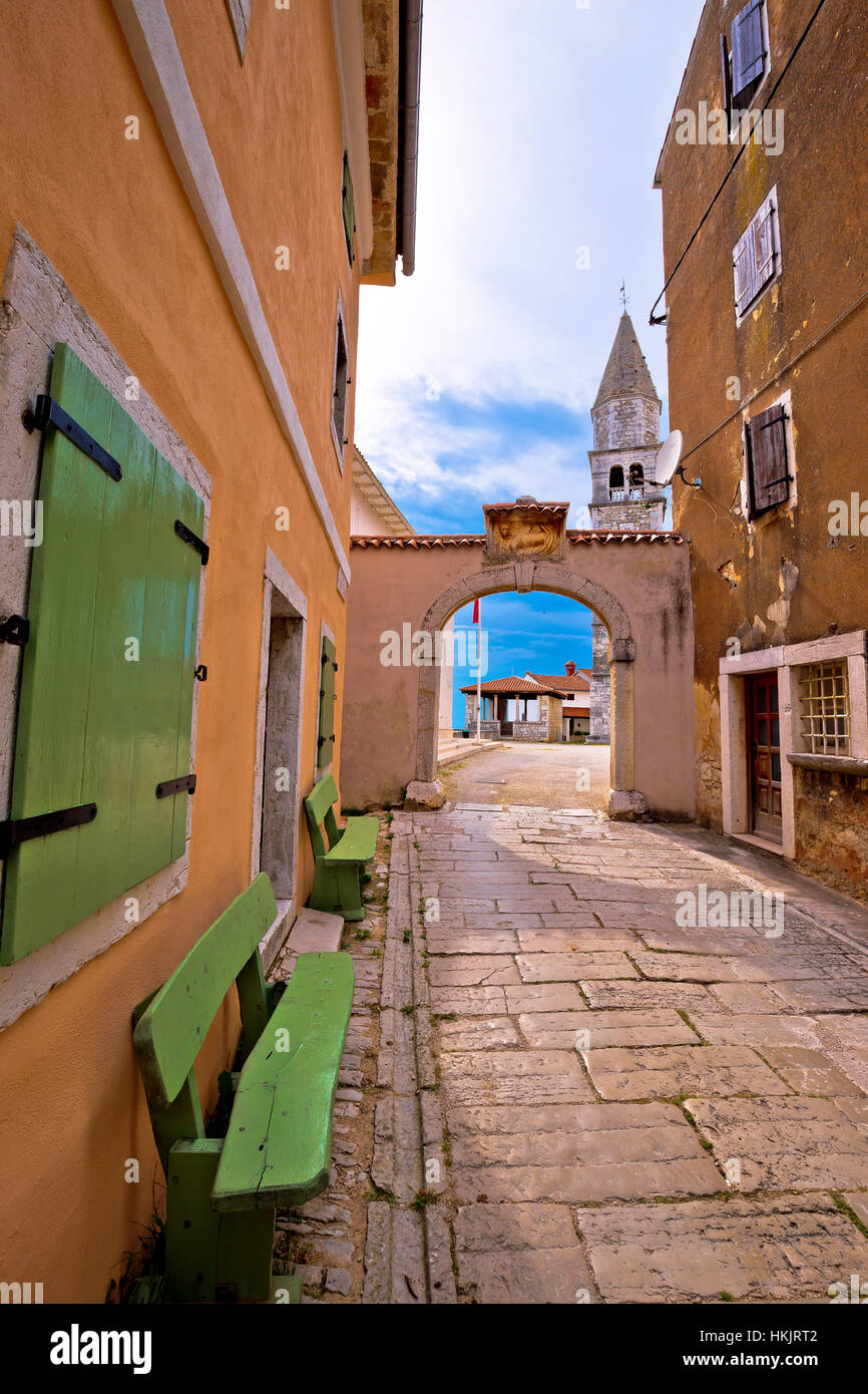 Town of Visnjan square and church, Istria, Croatia Stock Photo