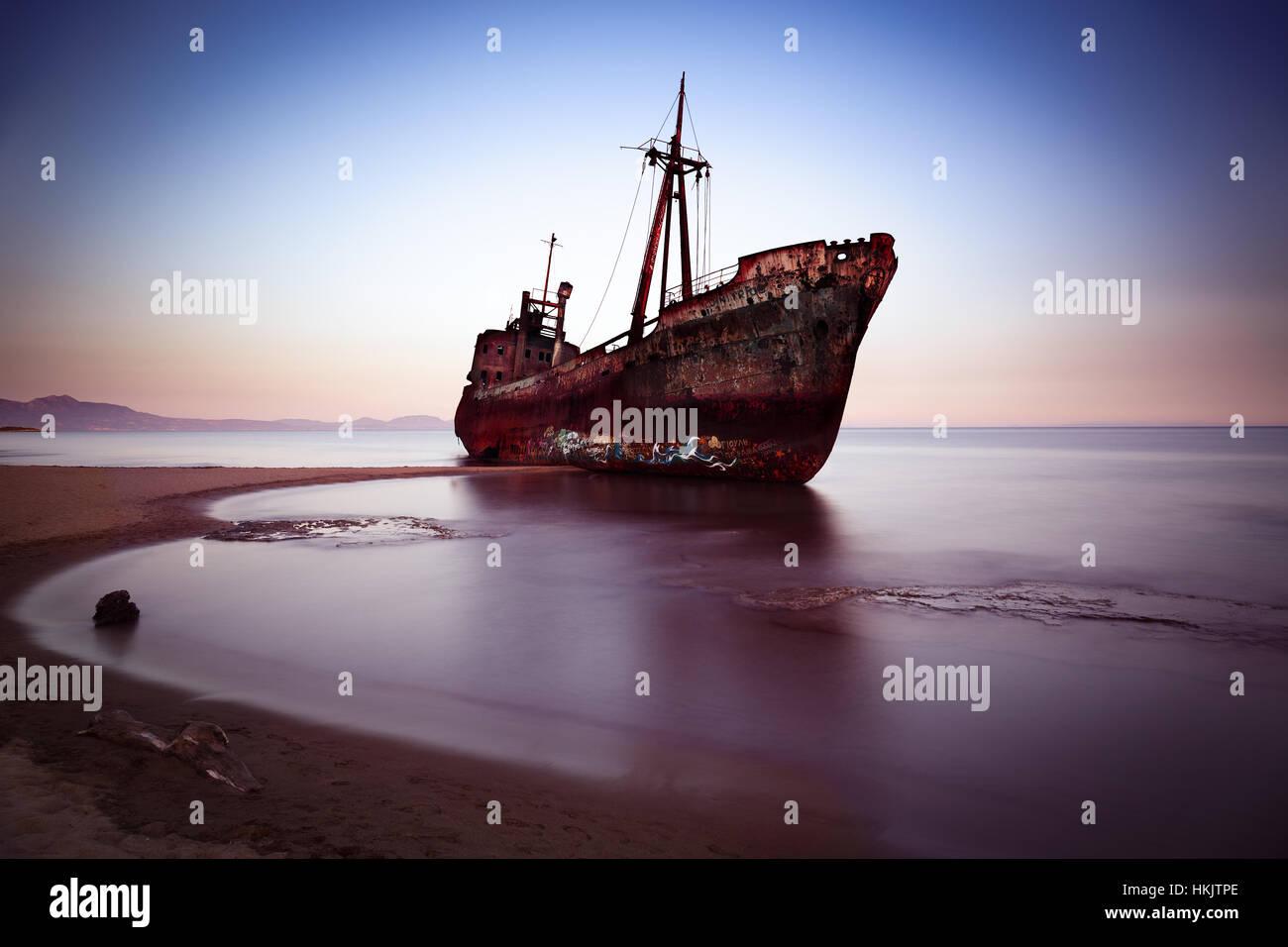 Wreck at Mediterranean Sea, Greece Stock Photo