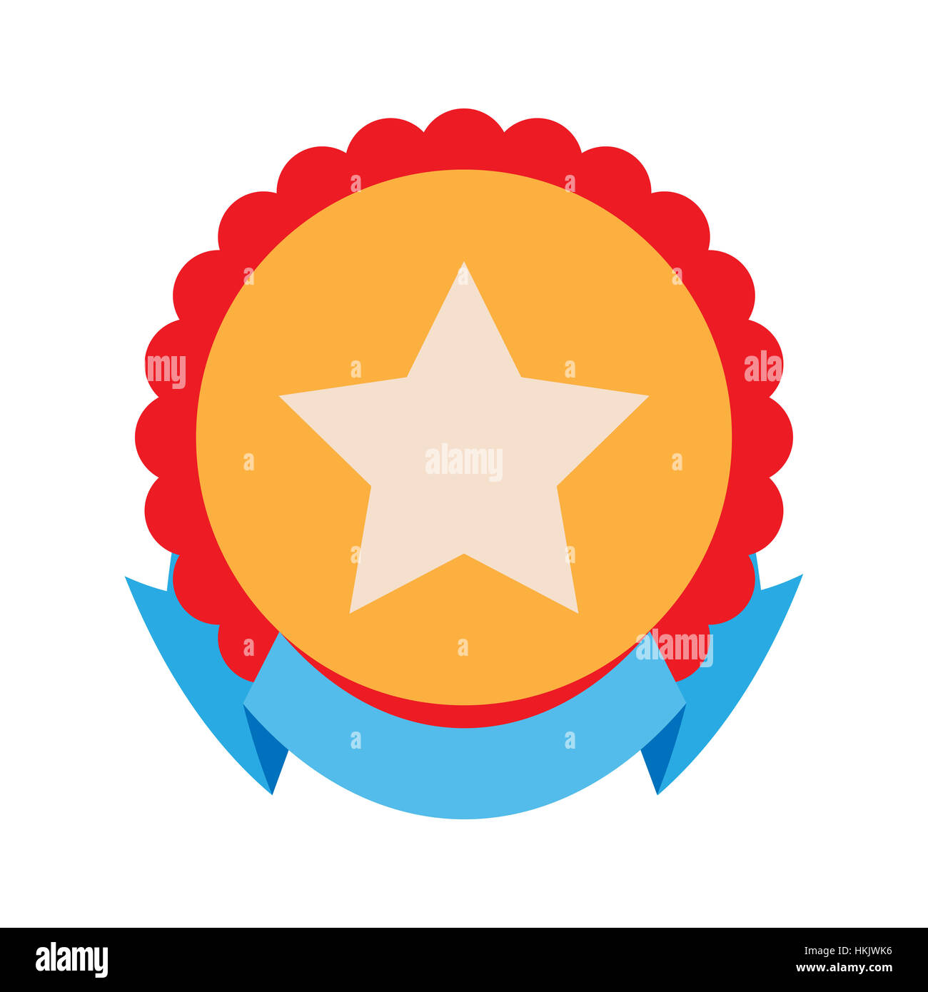 round badge with star and ribbon place for text on ribbon banner