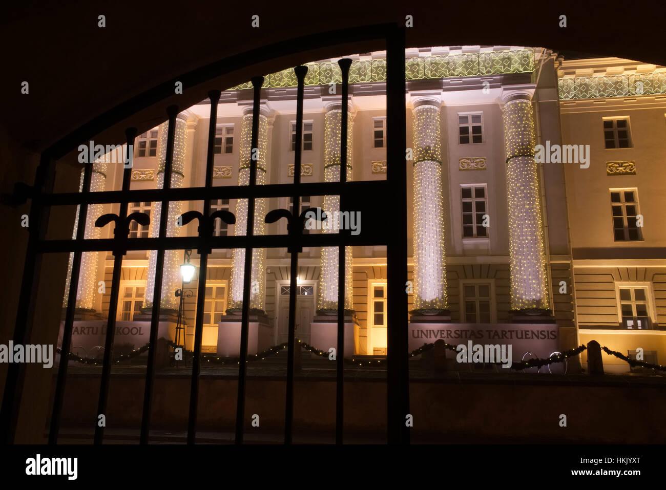 Tartu University's main building as seen through the gate. 28th January 2017 - Stock Image