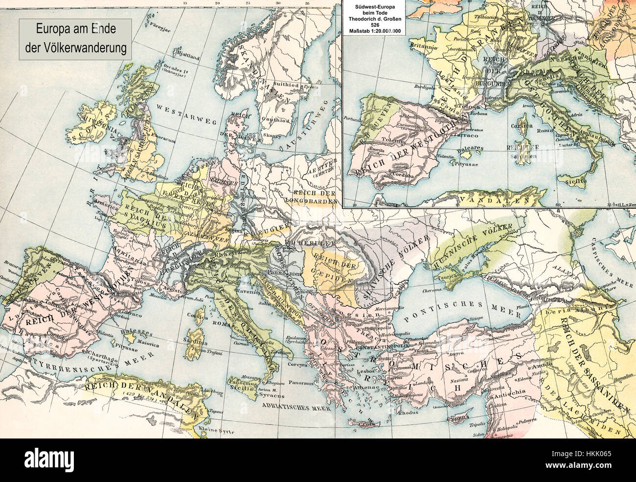 Historical map, the end of Migration Period in Europe - Stock Image