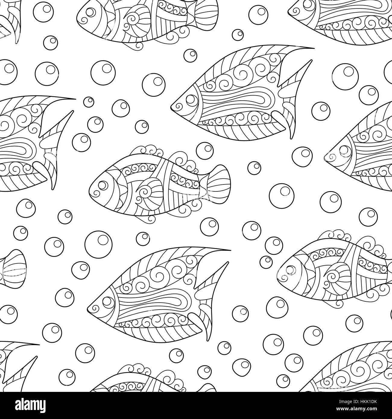 Coloring Pages For Adult Book Antistress Seamless Abstract Hand Drawn Ornamental Fish