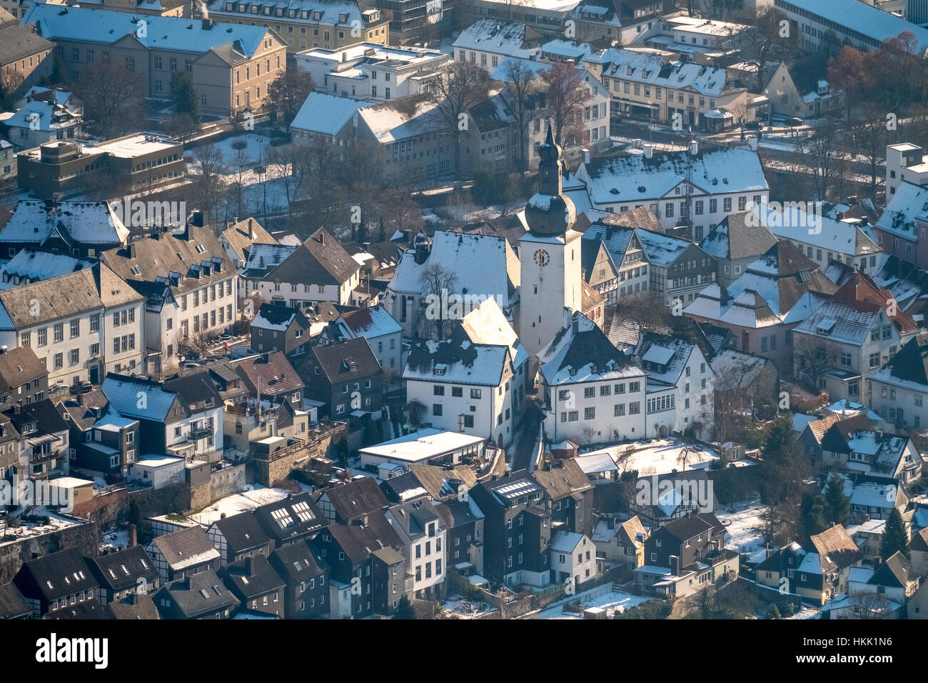 Wintery old town of Arnsberg, bell tower, snow, winter, Arnsberg, Sauerland, North Rhine-Westphalia, Germany - Stock Image