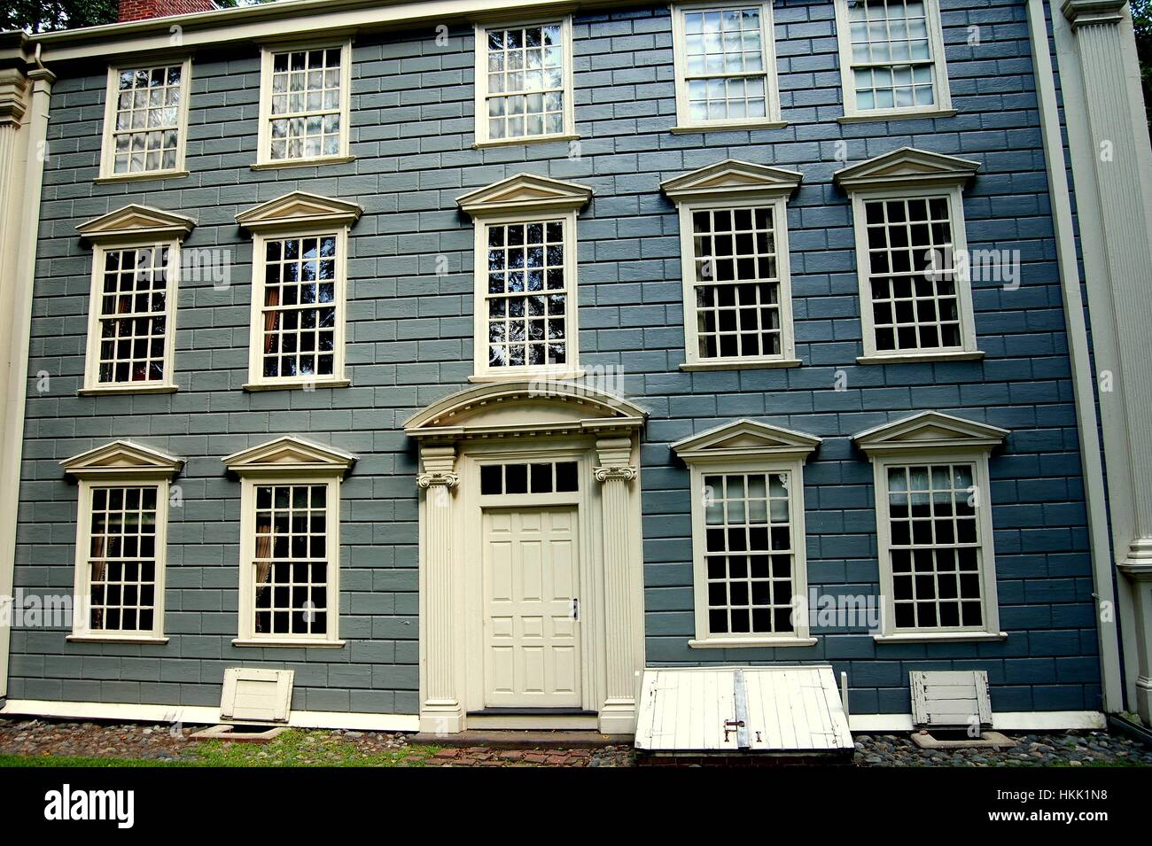 Medford, Massadchusetts- September 5, 2009:  National historic landmark 18th century Georgian Isaac Royall House - Stock Image
