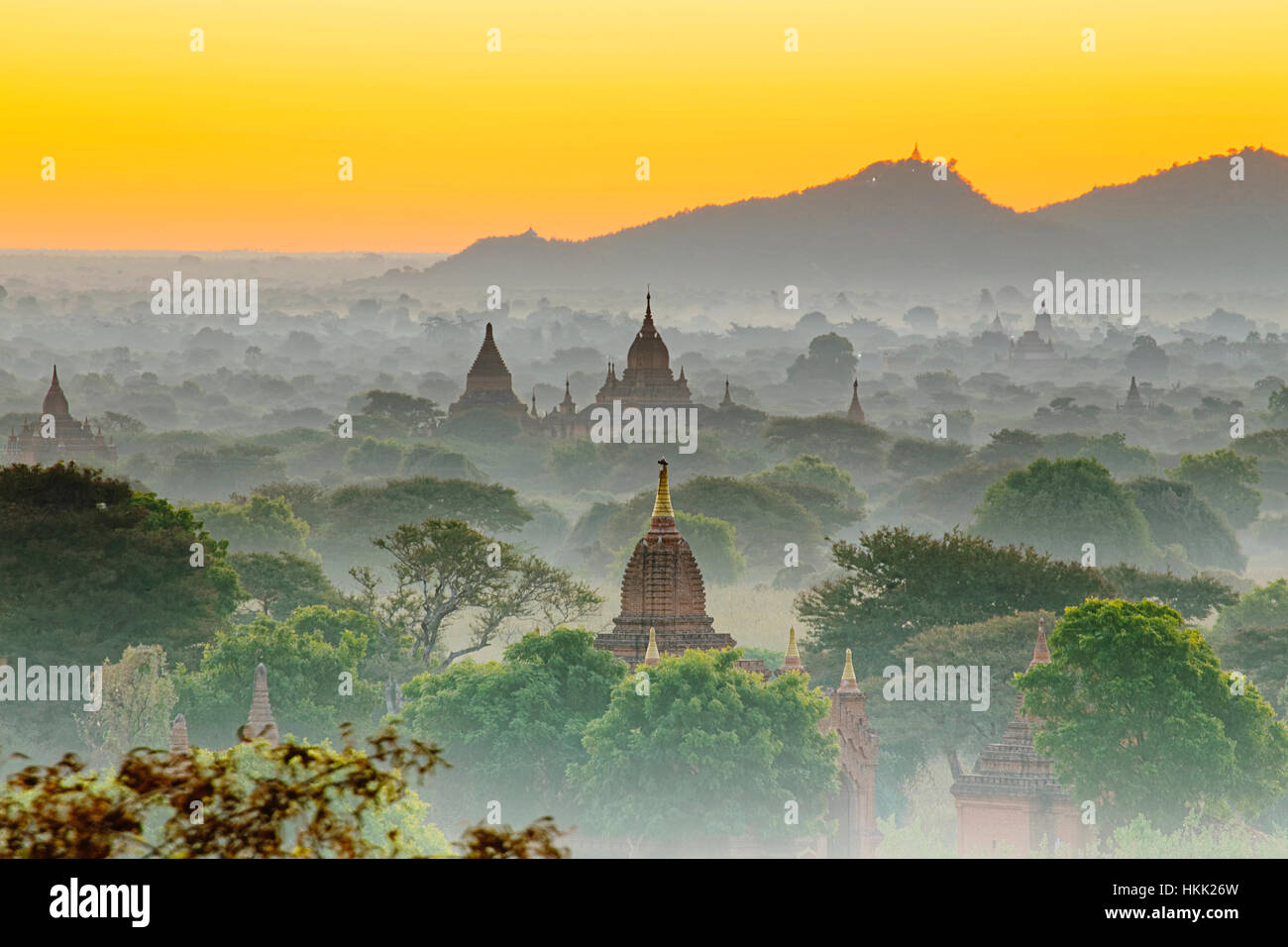 Scenic view of ancient Bagan temple during golden hour - Stock Image