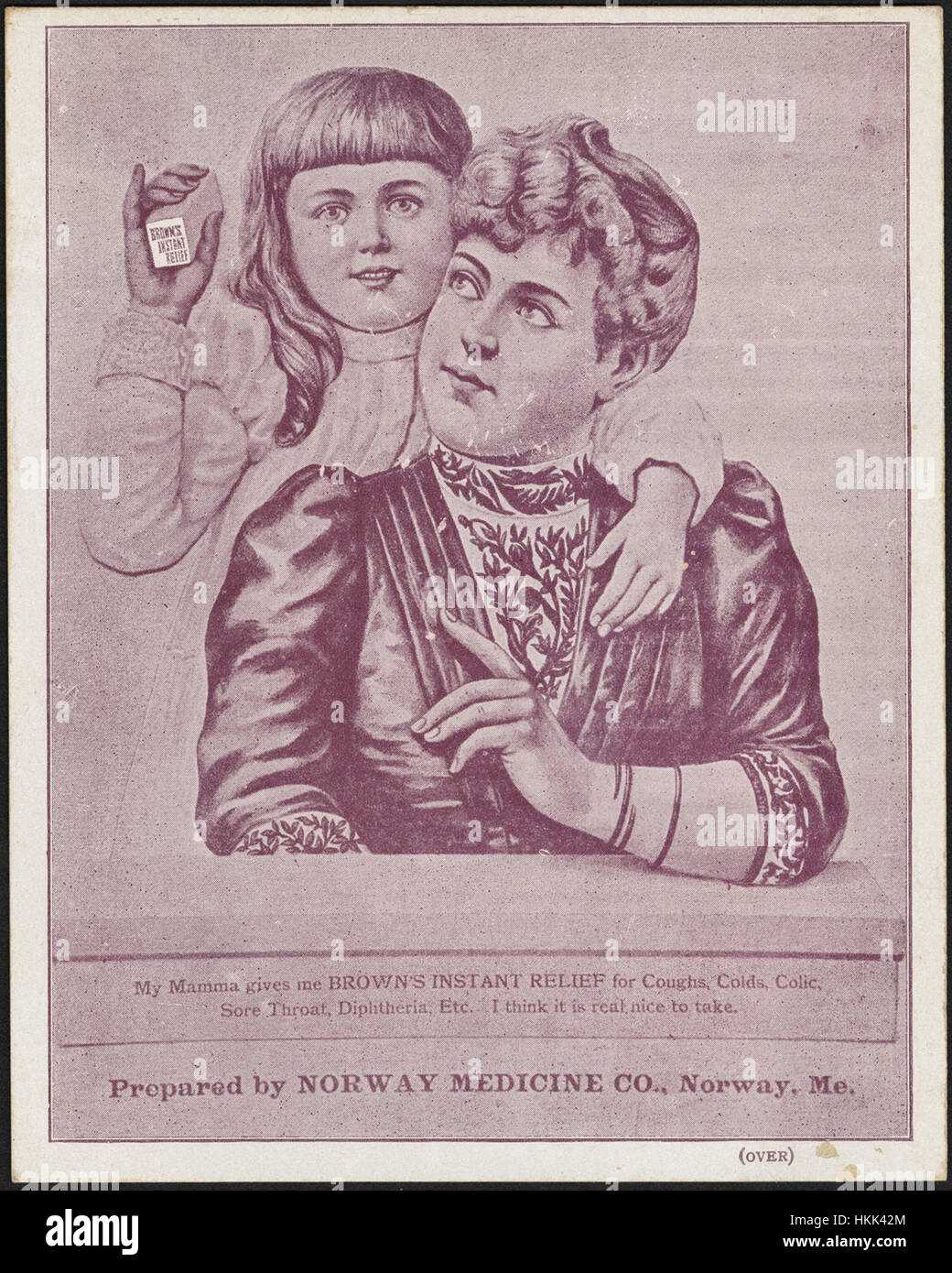 My mamma gives me Brown's instant relief for coughs, colds, colic, sore throat, diphtheria, etc. I think it - Stock Image