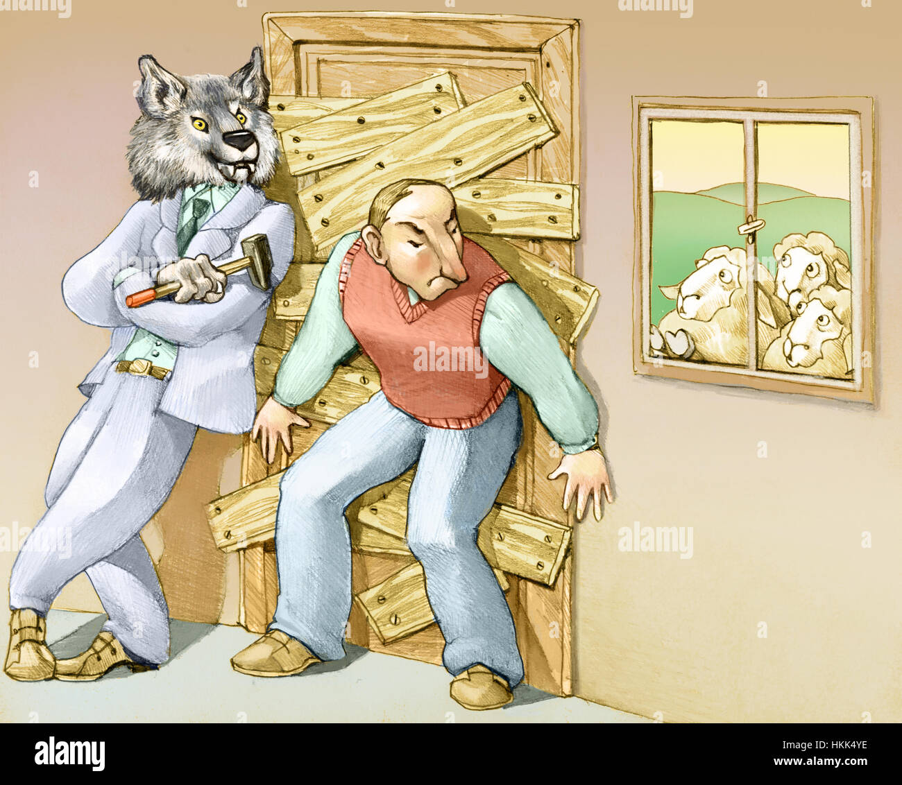 a man thinks that the danger is out and closes at home barring the door with the help of a big bad wolf - Stock Image