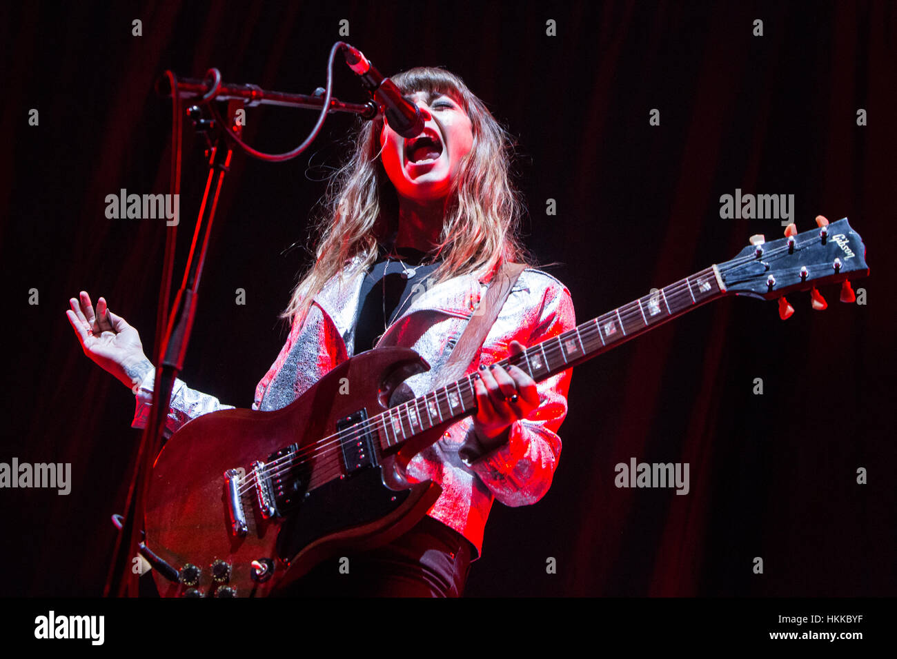 Milan Italy. 28th January 2017. The English heavy blues duo The Pearl Harts performs live on stage at Mediolanum - Stock Image