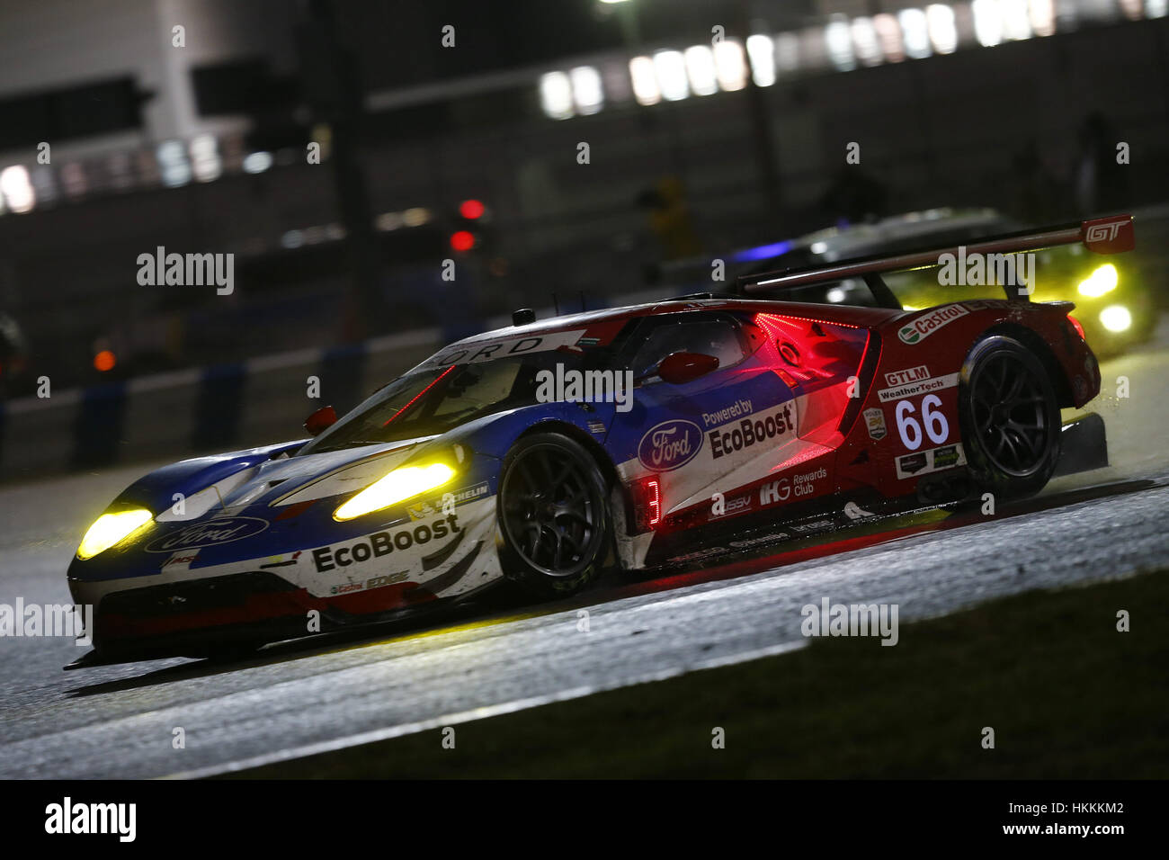 Daytona Beach Usa Th Jan  The Chip Ganassi Racing Ford Gt Races Through The Turns At The Rolex  At Daytona At The International Speedway In
