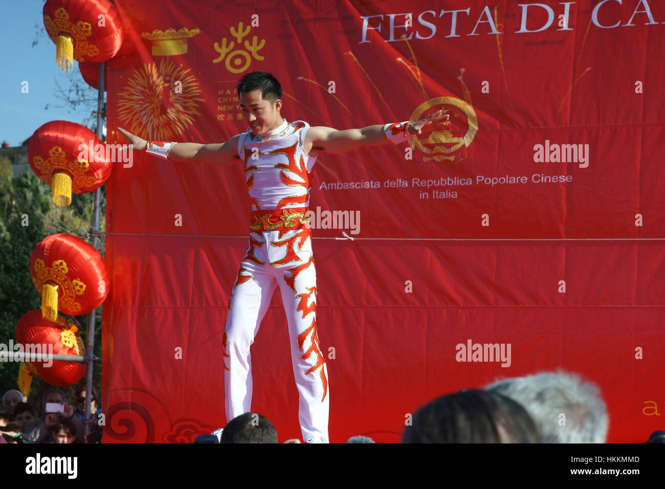 Naples, Italy, 29 january, 2017. Chinese community celebrates the beginning of 2017 (lunar calendar), the year of - Stock Image